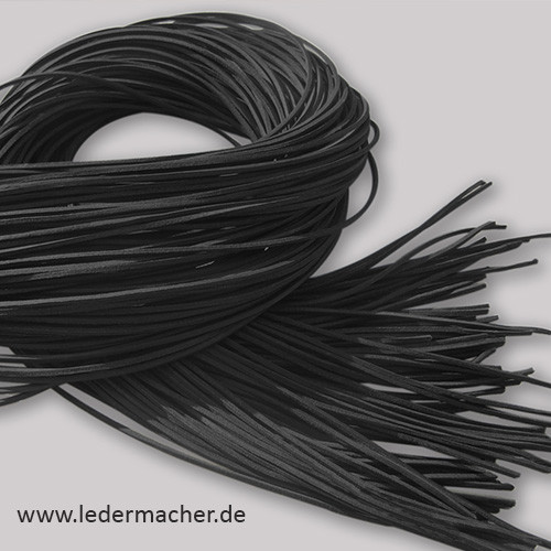 Lederband vierkant schwarz 2 Meter