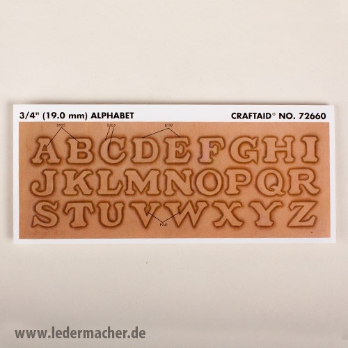 Craftaid Punzierschablone Alphabet - 19 mm