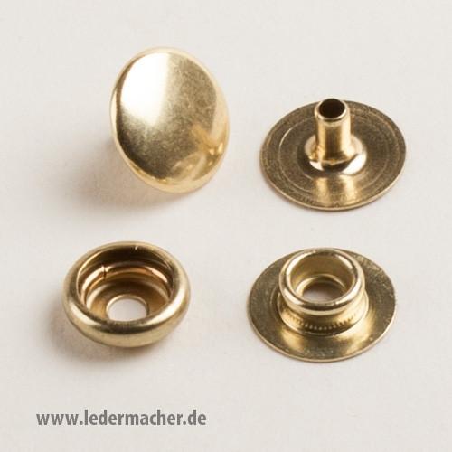 Druckknopf mit Ringfeder - 12,5 mm - messingfarben