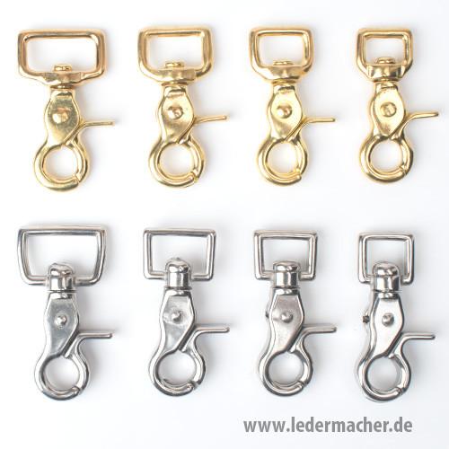 Scherenkarabiner rechteckig Vollmessing / Edelstahl