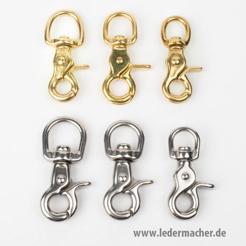 Scherenkarabiner rund - Vollmessing / Edelstahl