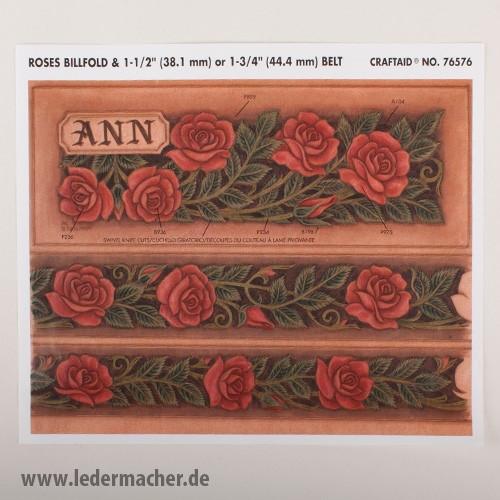 Craftaid Punzierschablone Roses Billfold & Belt