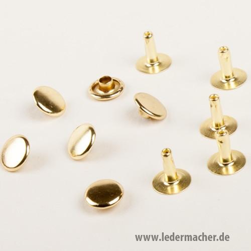 100 Hohlnieten, 9 x 9 mm, goldfarben