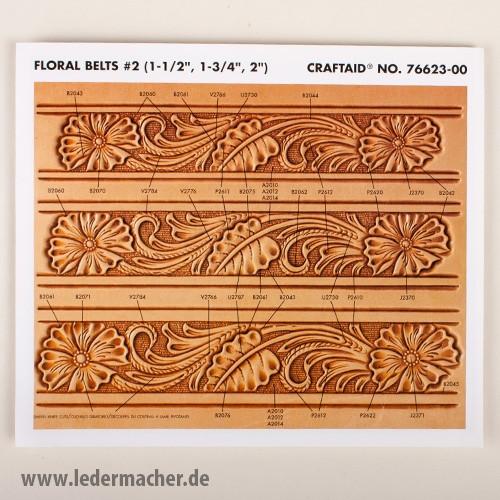 Craftaid Punzierschablone Floral Belt - 1,5 / 1,75