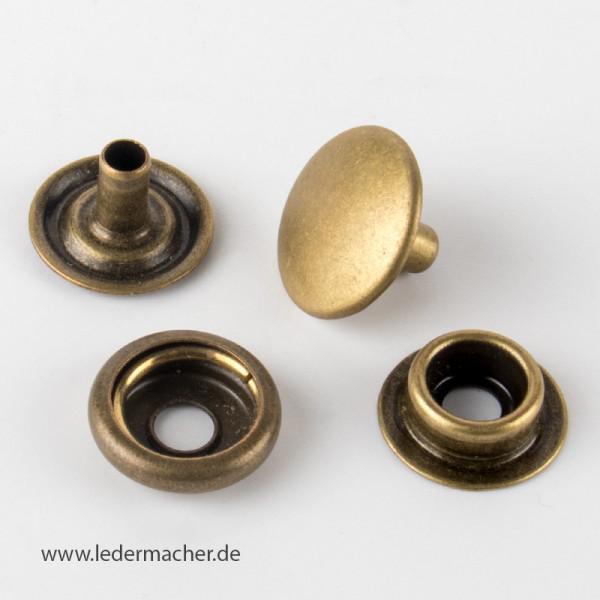 Druckknopf mit Ringfeder - 15 mm - antikmessing