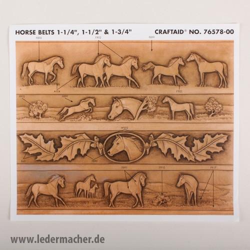 Craftaid Punzierschablone Horse Belt - 1,25 / 1,5 / 1,75 Zoll