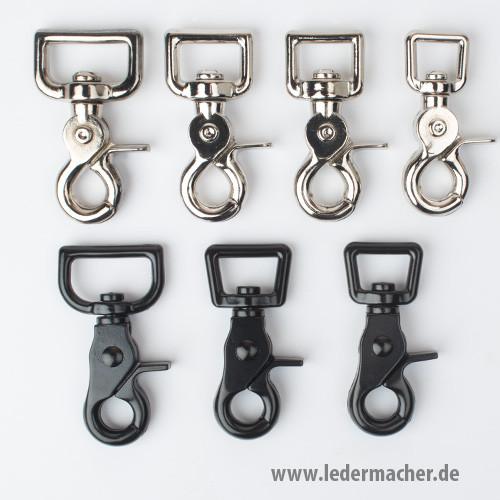 Scherenkarabiner rechteckig - vernickelt / schwarz